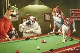 псы играют в бильярд